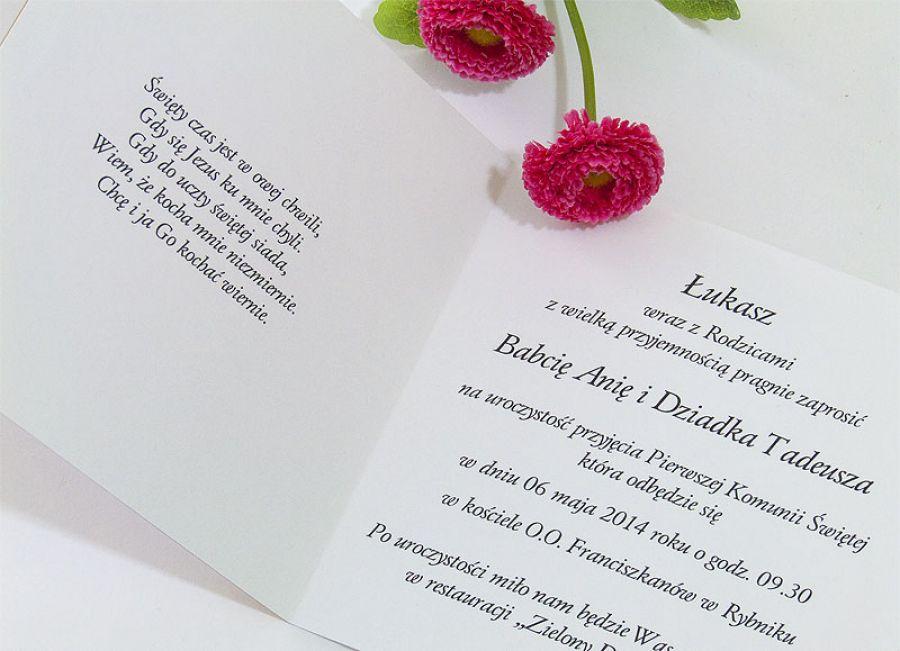 Zaproszenie na Pierwszą Komunię ze zdjęciem - Zaproszenia na Pierwszą Komunię Świętą z personalizacją