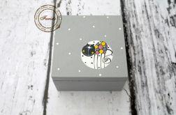 pudełko mini szare z kotkiem