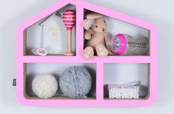 Półka na książki zabawki DOMEK | różowy