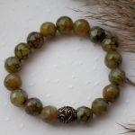 Bransoletka z zielonym agatem i koralikiem - Bransoletka na nadgarstek na rękę