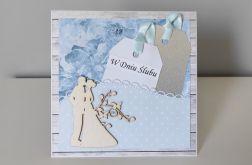 Kartka na ślub niebieska para młoda