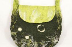 Torebka filcowana ręcznie zielona