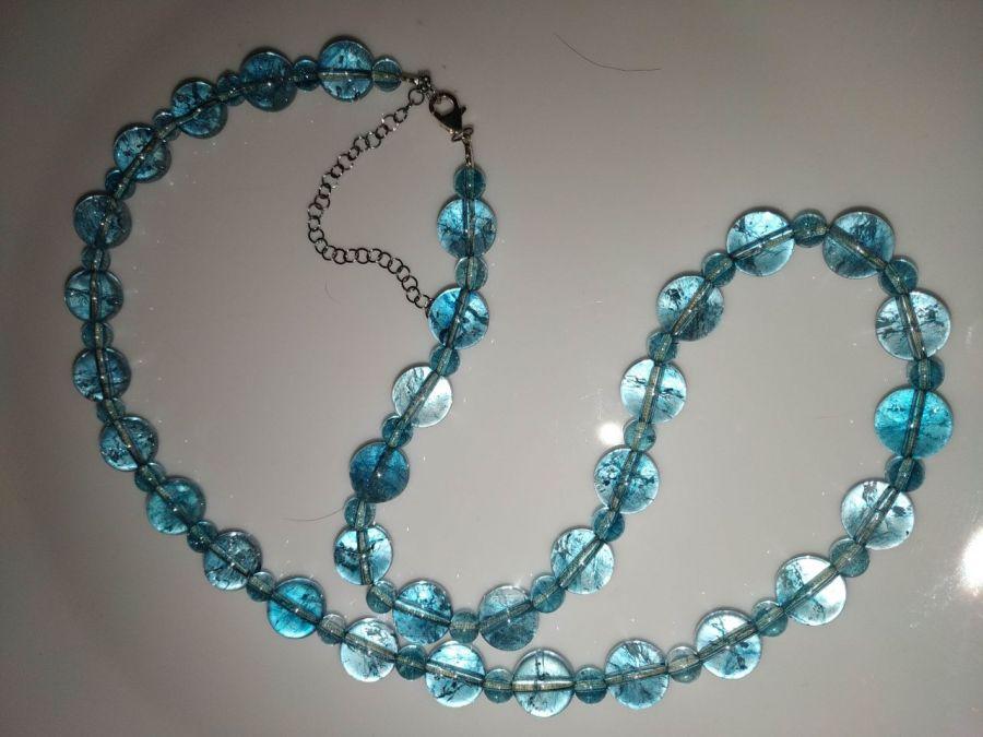 Naszyjnik z naturalnych niebieskich topazów - Naszyjnik z unikalnych topazów