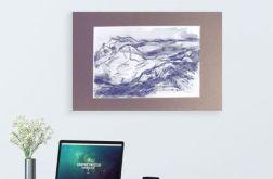 czarno-biały rysunek gór szkic górski n10