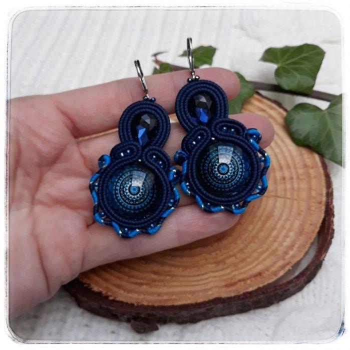 Kolczyki sutasz soutache niebieskie mandala - Mandala