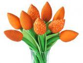 TULIPANY, pomarańczowy bawełniany bukiet