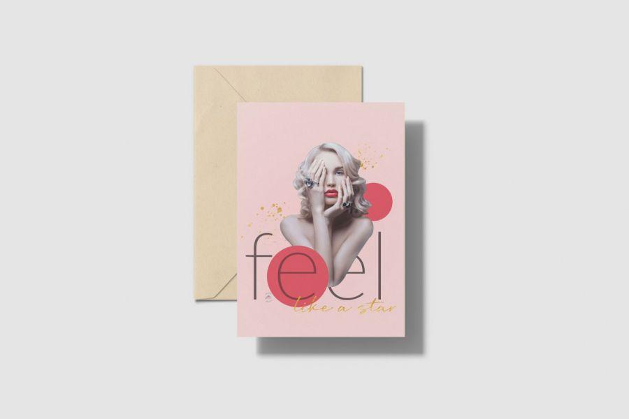 Kartka A5 W różu - kartka okolicznościowa