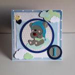 Kartka na Roczek dla dziewczynki misiu na chm -