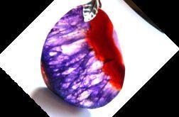 Fioletowy kryształ, surowy plaster, wisior