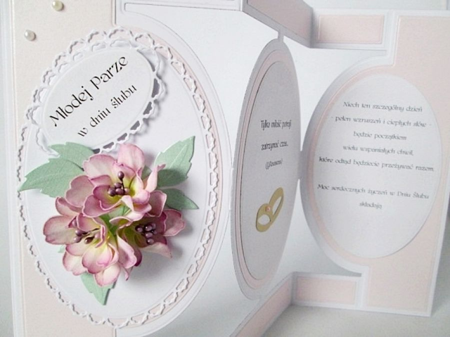 Kartka MŁODEJ PARZE z różowymi kwiatami