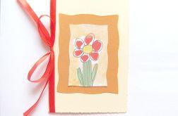 Kartka z kokardką i z kwiatkiem malowany n4