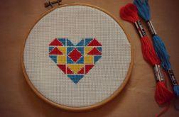 Ręcznie haftowany obrazek SERDUSZKO GEOMETRYCZNE haft krzyżykowy
