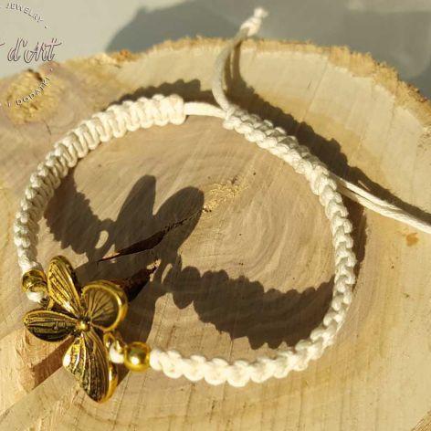 Bransoletka Biała ze Złotą Hortensją