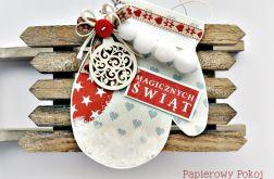 Rękawiczka na Święta - kartka skandynawska