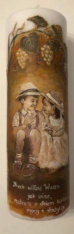 świeca malowana ręcznie- ślub,dzieci