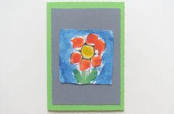 Kartka zielona z kwiatkiem 21