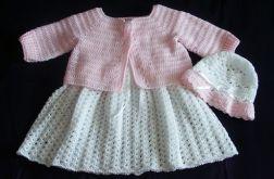 Komplecik dla dziewczynki biało - różowy