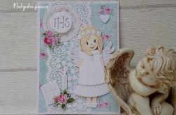 Kartka komunijna ze słodkim aniołkiem