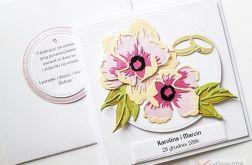 Kartka ŚLUBNA różowo-brzoskwiniowa