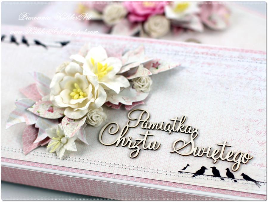 Kartka chrzest, kwiaty pudełko, DZ