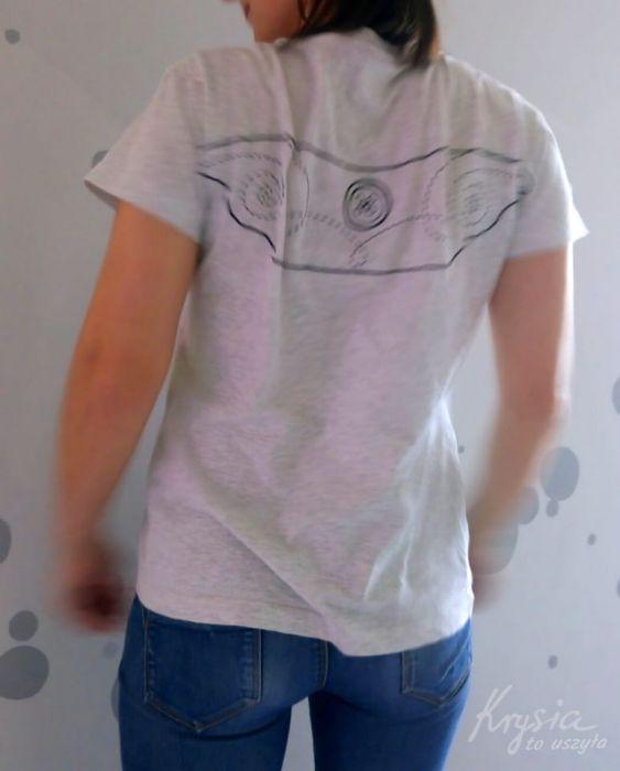 Anielska koszulka ze skrzydłami XL szara