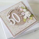 Kartka urodzinowa - okrągła '50' v.2 - braz1c
