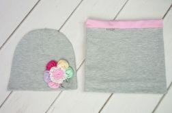 Szara czapka i komin dla dziewczynki