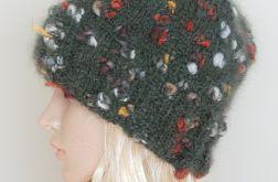 Zielona moherowa czapka