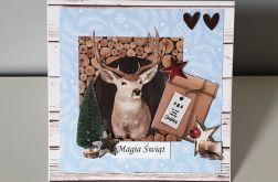 Kartka Boże Narodzenie handmade renifer