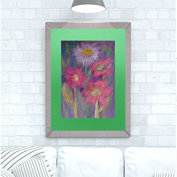 Rysunek z kwiatami na jasnozielonym tle nr 1
