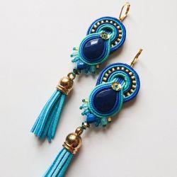 Niebiesko-turkusowe kolczyki z chwostami
