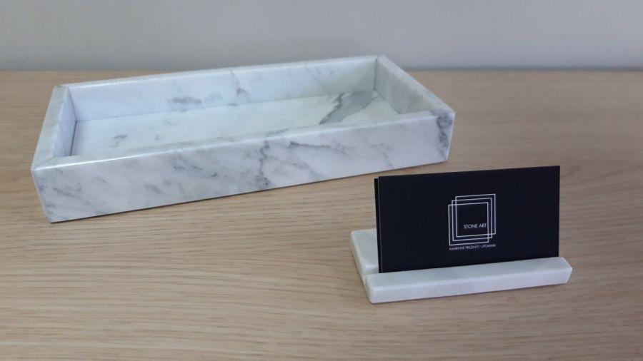 Wizytownik z kamienia marmuru na biurko do bi