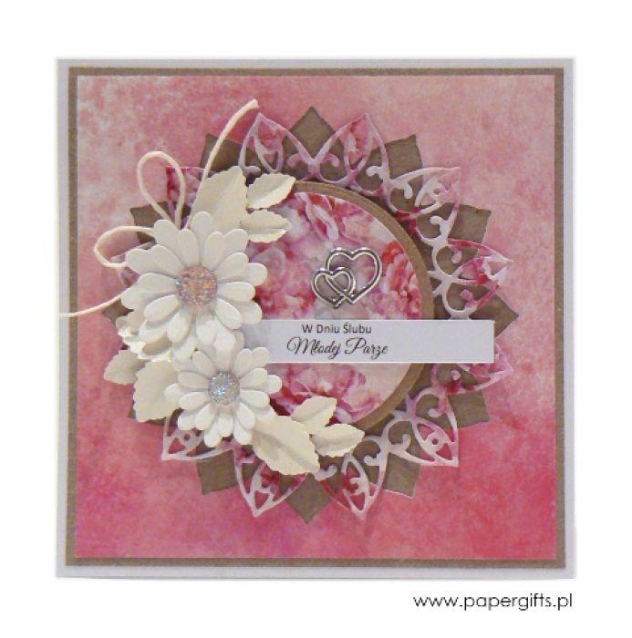 Kartka ślubna białe kwiaty na różowym tle - Kartka na ślub w różu
