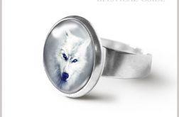 Pierścionek - Biały wilk