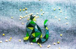 Broszka Kot zielona