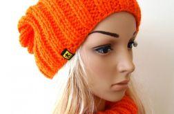komplet pomarańczowy; czapka i komin