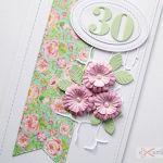 Kartka URODZINOWA różowo-seledynowa - Kartka urodzinowa z różowymi kwiatami