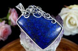 Srebrny wisior z kaboszonem lapis lazuli blue