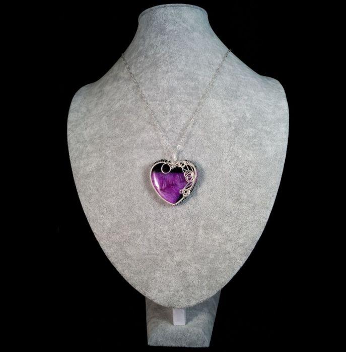 Srebrny wisior z Agatem w kształcie serca - wisior wire wrapped