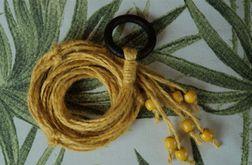 Unikatowy kwietnik makrama sznurek jutowy żółty boho