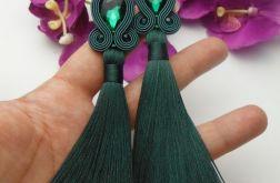 Soutache sutasz kolczyki zielone frędzle