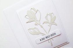 Kartka URODZINOWA - popielate kwiaty