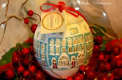 """Bombka malowana ręcznie """"Świąteczne domki"""""""