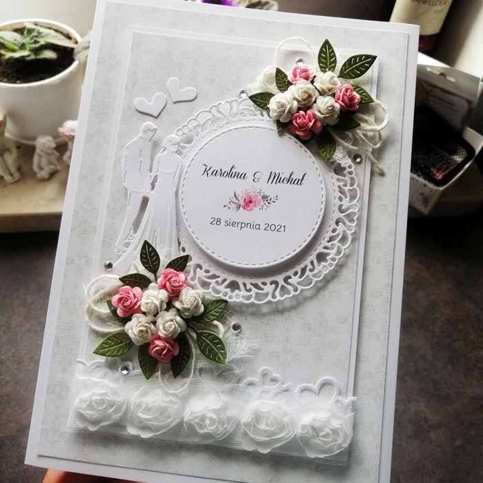 Kartka ślubna szara z różyczkami SLB 020 - kartka ślubna szara z różyczkami przód 2