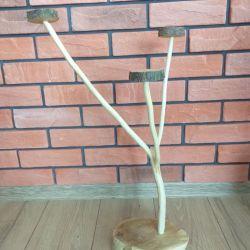Oryginalny swiecznik z drewna