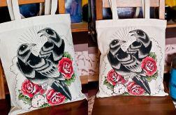 Ręcznie malowana eko torba z krukami