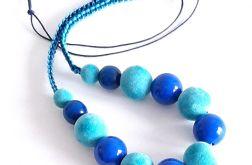 4495 naszyjnik makrama niebieski chabrowy