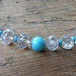 Naszyjnik - lodowo w turkusach - Naszyjnik kryształ