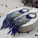 Długie kolczyki boho - granat i srebro