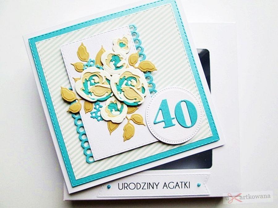 Kartka NA URODZINY beżowo-turkusowe róże